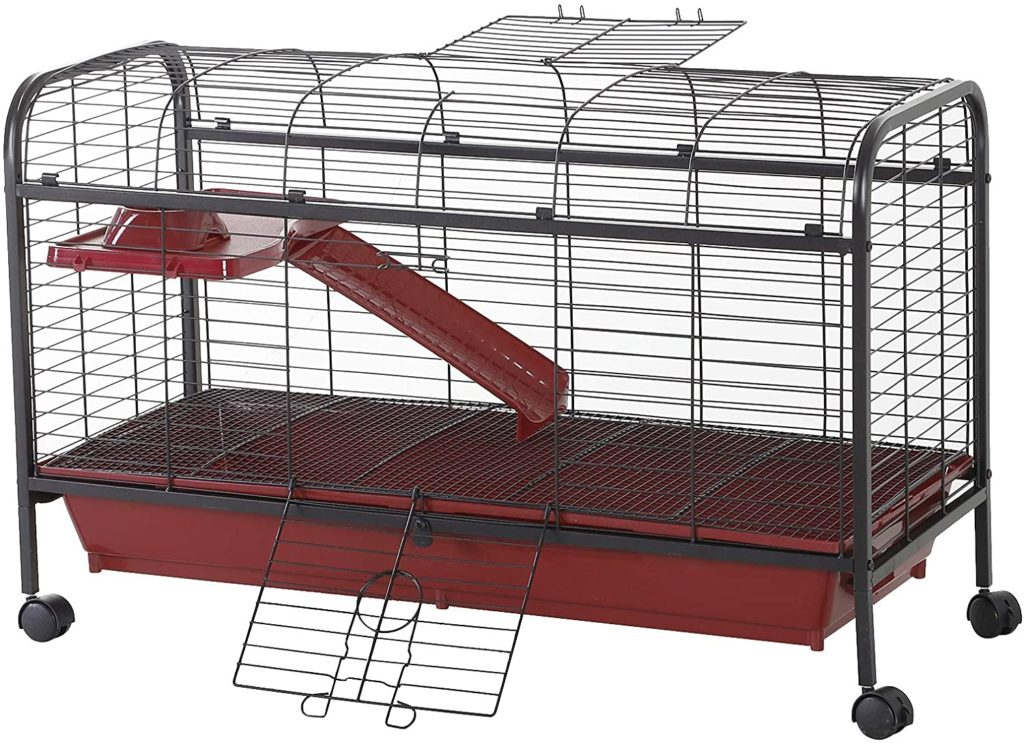Best-Rabbit-Cages-PawHut-42-Metal-Wire-Small-Animal-Pet-Cage-with-Wheels