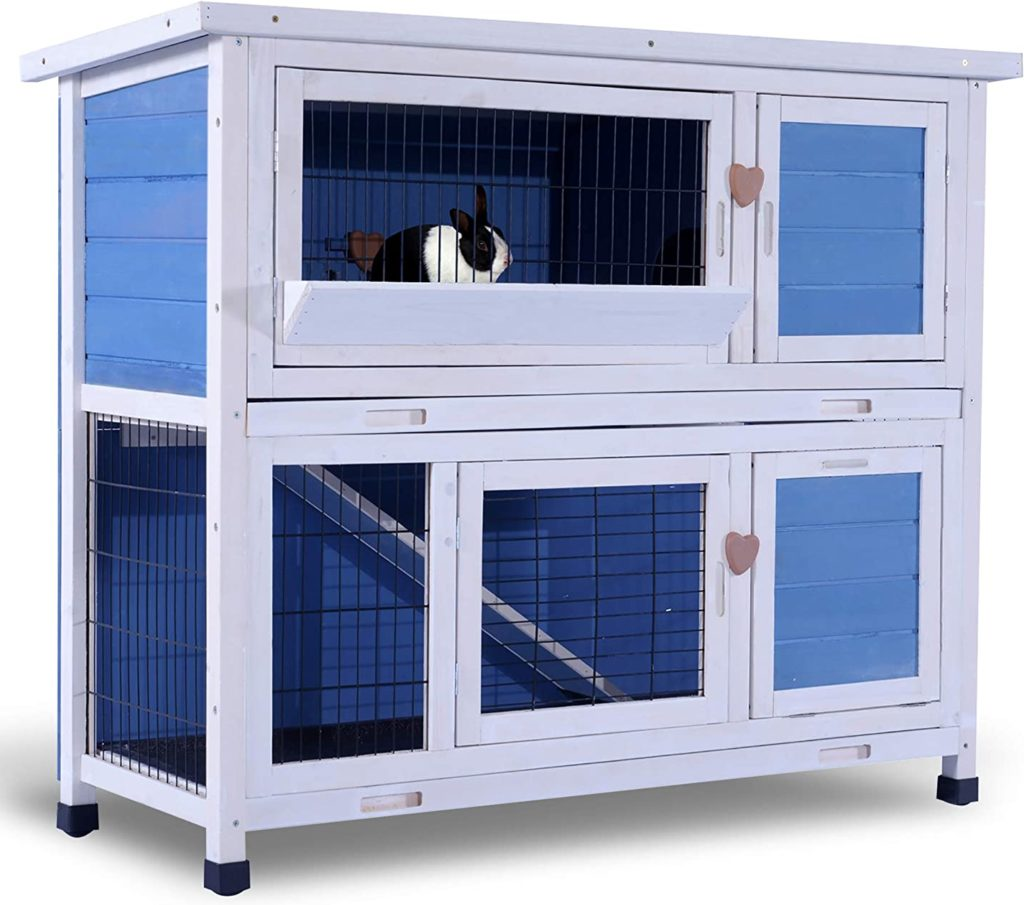 best rabbit hutches - Lovupet 2 Story Outdoor Wooden Rabbit Hutch