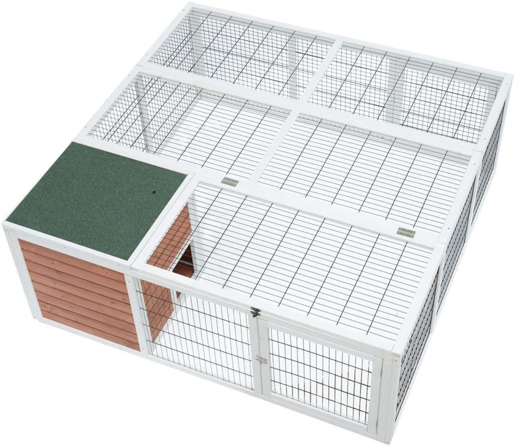 best rabbit hutches - Magshion Spacious Wooden Bunny Rabbit Hutch