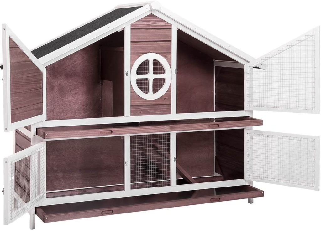 best rabbit hutches - PURLOVE 50 Wood Rabbit Cage 2 Story Indoor Outdoor Bunny Hutch