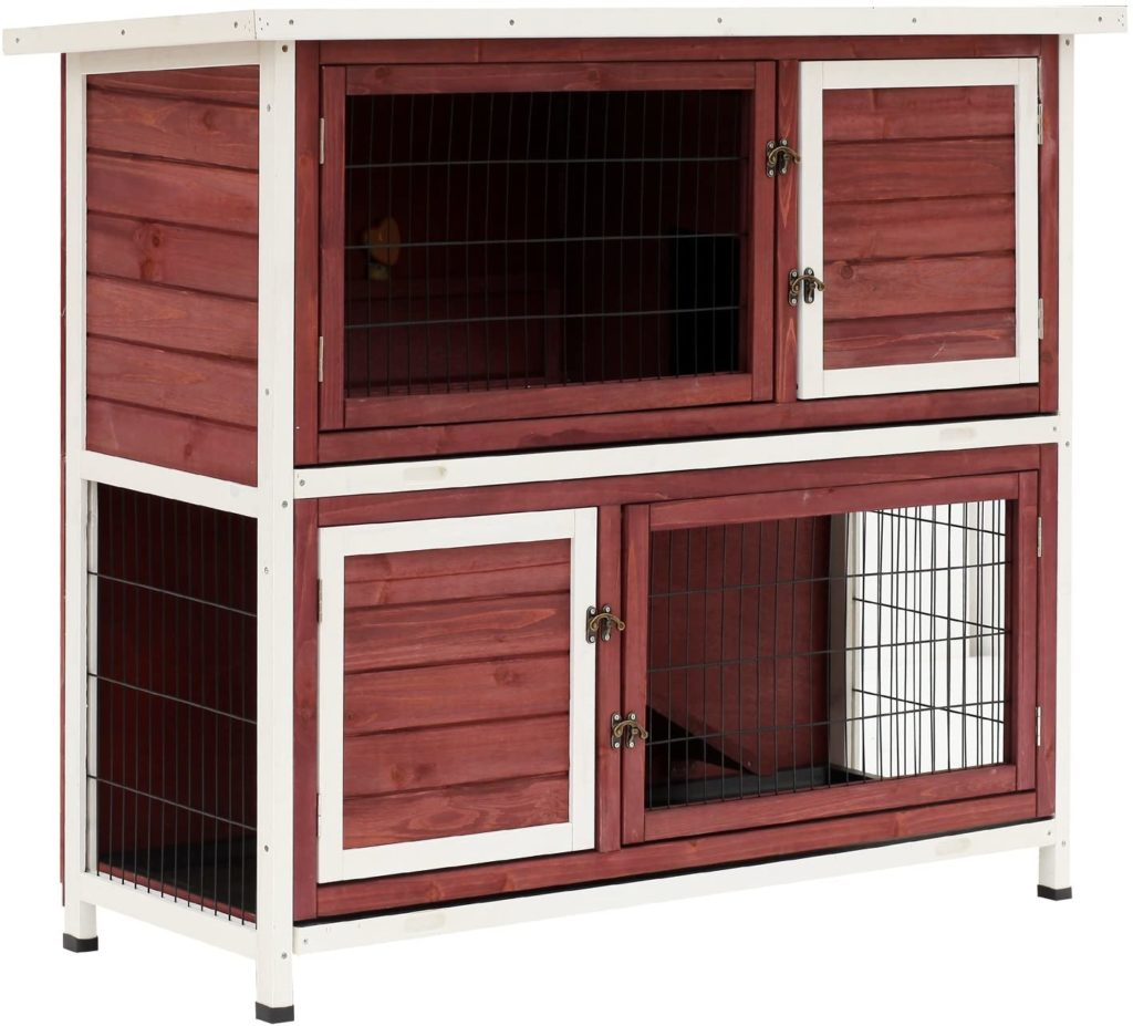 best rabbit hutches - PawHut 48 2-Story Elevated Stacked Wooden Rabbit Hutch